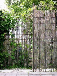 8. Armeringsnät och gräs. Armeringsnät är billigt och användbart i trädgården och går snabbt att sätta upp. De här näten är fastspikade med märlor och sedan har visset elefantgräs flätats in i rutorna. Väggarna på bilden markerar en ingång till trädgården och stänger av mot parkeringen utanför. Eftersom man kan variera höjden kan man tillfredsställa många önskemål i den gröna miljön oavsett om man är ute efter avskärmningar som är smala, breda, höga eller låga.