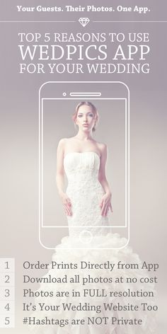 Weddings are EXPENSIVE! How about something FREE for a change?  Try WedPics - The #1 Photo & Video Sharing App for Weddings!  Your Wedding Guests. Their Photos. One FREE App. It's THAT simple!