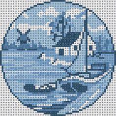 Blue Delft Sailboat