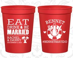 Eat Drink And Be Married Cups Customized Stadium Tropical Wedding Beach Cruise Logo Plastic 423