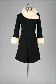 PLEASE!!!!!!! 1960 tailored wool coat with mink fur trim