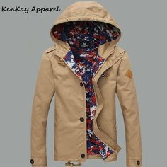 Men Casual Parka Jacket With Hood
