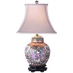 Rose Canton Porcelain Melon Jar Table Lamp