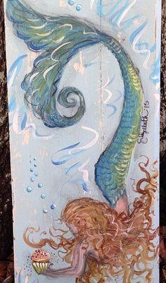 Mermaids & Cupcakes by elizabethandcoart on Etsy Mermaid Artwork, Mermaid Drawings, Mermaid Paintings, Real Mermaids, Mermaids And Mermen, Mermaid Cove, Mermaid Tails, Mermaid Cupcakes, Mirror Painting