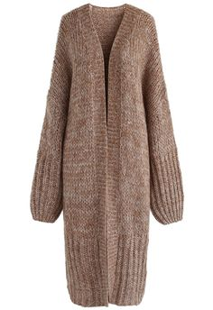 Warm Knit It Longline Open Cardigan in Brown - New Arrivals - Retro, Indie and Unique Fashion