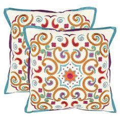 "Safavieh 2-Pack Stitched Moroccan Paradise Toss Pillows (18x18"")"