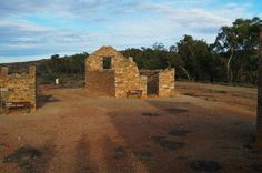 Derelict buildings in the outback ghost town of Farina, South Australia
