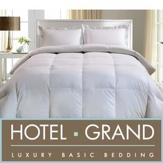 Sleep in cozy comfort under this luxury white  goose down comforter. Bedding features a 1000 thread count Egyptian cotton cover.