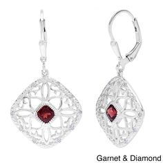 These elegant filigree dangle earrings feature bezel-set cushion-cut gemstones nestled in luscious sterling silver filigree drops. Accented with sparkling diamonds, these beautiful earrings are finished with leverback clasps for a secure fit.