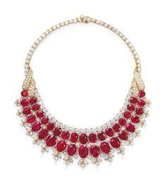 RUBY AND DIAMOND BIB NECKLACE, VAN CLEEF & ARPELS Price realised CHF 2,415,000 Estimate CHF 400,000 - CHF 600,000