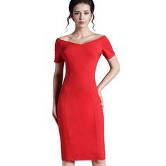Elegant Off the Shoulders Vintage Style Pencil Dress
