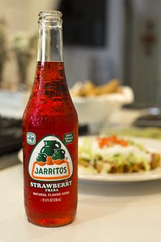 | | Jarritos Strawberry with Flautas | | Flautas, Mexican Food, Mexican Dishes, Jarritos, Soft Drink, Mexican Soda, Fruit Flavored Soda, Glass Bottle, Iconic Beverage,  Soda Mixer, Soda in a Glass Bottle, Real Sugar, Cane Sugar, Made in Mexico, Mexico, Mexican, Natural Flavor Soda, 100 percent natural sugar, Mexican food, cocktail recipes, Mexican, Naturally Flavored, Bright, Colored Soda, Fun Soda, Colorful Sodas, Iconic Mexican Soda.
