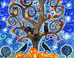 Halloween Tree - 8 x 10 kleurrijke herfst boom Swirly zwarte katten Moon Star Ravens Print