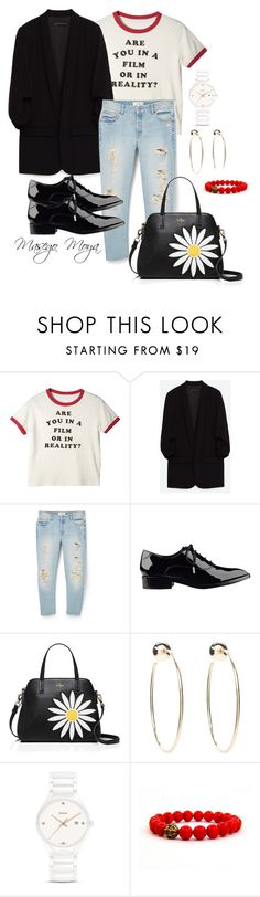 """""""Untitled #32"""" by masego-moya ❤ liked on Polyvore featuring MANGO, Sigerson Morrison, Kate Spade, Bebe and Rado"""