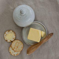 White rustic ceramic butter dish