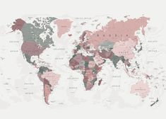 World Map Pink and Green