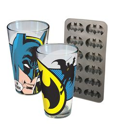 Another great find on #zulily! Batman Pint Glass & Ice Cube Tray Set by ICUP Inc. #zulilyfinds