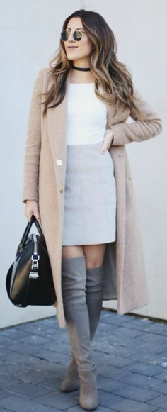 Stephanie Sterjovski + multiple trends + neutral shades + pastel coloured boots + love + look + sophisticated + every day style  Coat: River Island, Top: H&M, Skirt: Artizia, Boots: Stuart Weitzman Bag: Givenchy.