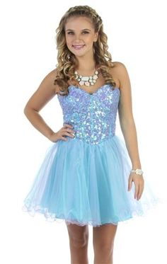 strapless two tone sequin corset party dress with ruffled skirt