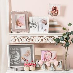 Love the shelf Find the perfect frames for showing off your beautiful bundle of joy! Baby Shower Gifts, Baby Gifts, Family Photo Frames, Little Blessings, Kids Decor, Home Decor, Hobby Lobby, Cute Gifts, Nursery Decor