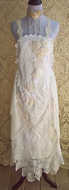 Vintage Lace Wedding Dress Rose Garland and by roselanijasmin