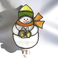 Snowman with Gift Stained Glass Night Light by hobbymakers on Etsy, $19.00