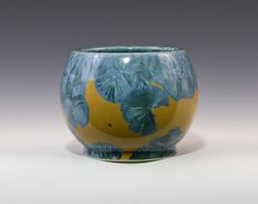 Crystalline Blue on Pastel Yellow Vase #9039 Ceramics Pottery by Moonlit Method Greg and Pamela Beckman