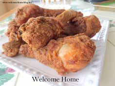Deep #FriedChicken in Buttermilk Brine | Check out the recipe here: http://www.welcome-home-blog.net/2014/02/deep-fried-buttermilk-brine-drumsticks.html