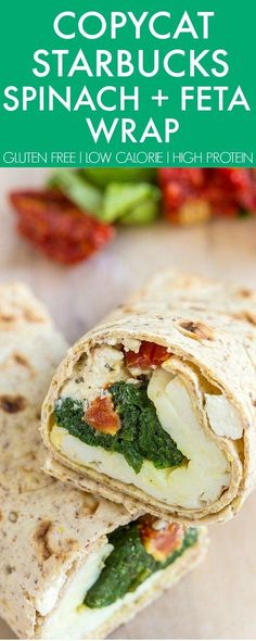 COPYCAT Starbucks Spinach and Feta Wrap perfect for breakfast, snacks and even freezer friendly- Easy, delicious and better than the original! {gluten free, high protein, low calorie recipe}- http://thebigmansworld.com
