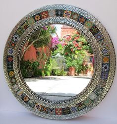 round PUNCHED TIN MIRROR mixed talavera tile handmade mexican folk art circular mirrors wall decoration