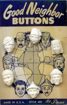 ButtonArtMuseum.com - Good neighbor buttons. Original Button Card. Made in USA.