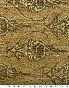 Drapery Upholstery Fabric Chenille Damask Design - Sage Green / Gold  #Unbranded