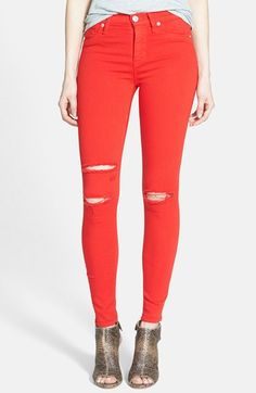 Hudson Jeans | 'Nico' Shredded Ankle Jeans (Hot Wire Red)