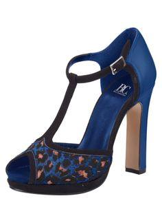 Sandalettes bleues léopard à brides - B.C. BEST CONNECTIONS Sandalettes