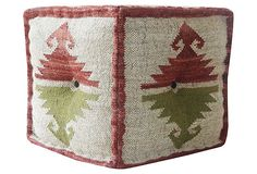would be cool using rug Kilim Square Pouf, Cream/Red on OneKingsLane.com