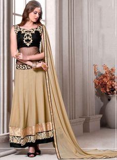 Black Cream Embroidery Sequins Work Lace Border Chiffon Silk Anarkali Suit   #LEHENGA #Choli #Wedding #Bridal http://www.angelnx.com/Lehenga Choli