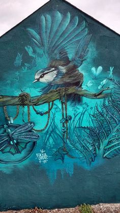 BIRD FLAPPING IT'S WINGS...By: Faunagraphic, Sheffield Street Art, Manchester graffiti #ad