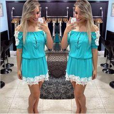 Lace Splicing Chiffon Off Shoulder Short Sleeve Short Dress