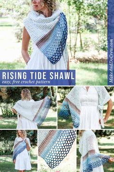 This fast asymmetrical crochet triangle shawl pattern is simple and perfect to use year round. Wear it to the beach, a wedding or as a triangle scarf. Get the easy, free pattern featuring Lion Brand Mandala yarn. Crochet Triangle Scarf, Crochet Scarf Easy, Crochet Shawls And Wraps, Crochet Scarves, Crochet Clothes, Crochet Lace, Crochet Vests, Crochet Shirt, Knitted Shawls