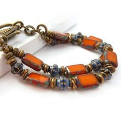 Orange Bracelet Cobalt Blue Multistrand by RockStoneTreasures, $44.00