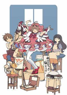 Shaoran pintando a meiling y Tomoyo y kero pintando a Sakura