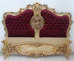 Red Gold Leaf Luxury Bed 12