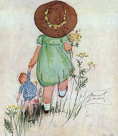 Inch Print - High quality prints (other products available) - A little girl in a green dress, carrying a doll, by Muriel Dawson. Date: circa - Image supplied by Mary Evans Prints Online - Photograph printed in the USA Fine Art Prints, Framed Prints, Canvas Prints, Little Girl Illustrations, Little Cherubs, Poster Size Prints, Photo Greeting Cards, Art Lessons, Ideas