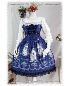 infanta lolita jumper skirt with flower prints tangled can buy matching head bow or headband <3  www.my-lolita-dress.com