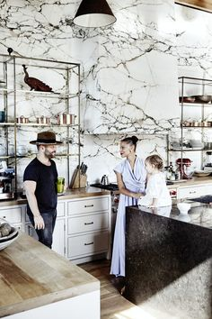 Luxury Kitchen Inside the Old-World Venice Beach Home of Denise Vasi and Anthony Mandler via - Actress Denise Vasi and director Anthony Mandler take us inside their striking Venice Beach home with the marble kitchen of your dreams. Luxury Kitchens, Home Kitchens, Tuscan Kitchens, Küchen Design, House Design, Classic Kitchen, Best Kitchen Designs, Cuisines Design, Beautiful Kitchens