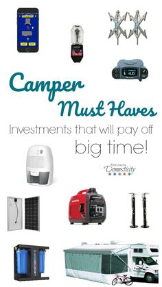 Camper Must Haves - Investments that will pay off big time! Pop Up Camper must haves   RV must haves   travel trailer must haves   fifth wheel must haves   camping must haves  Camper investments   best camper products #camper #popupcamper #camping #rv #rvlife