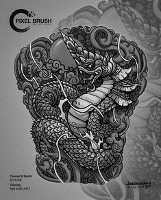 Cambodian Tattoo, Khmer Tattoo, Cambodian Art, Thai Tattoo, Dragon Koi Tattoo Design, Dragon Head Tattoo, Dragon Design, Thailand Tattoo, Thailand Art