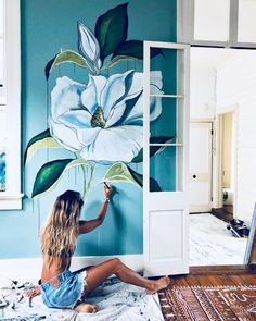 Wall Painting Decor, Mural Wall Art, Disney Wall Murals, Flower Mural, Hand Painted Wallpaper, Oil Pastel Art, Bedroom Murals, Wall Drawing, Floral Wall