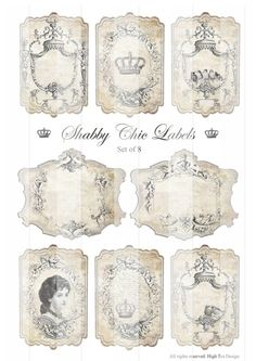 SHABBY CHIC etichette - Tags regalo - Ephemera - Hang Tags - foglio Collage digitale