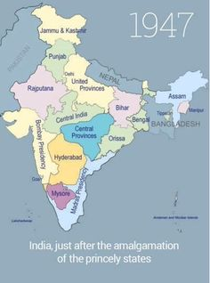 History of Formation of Indian States - From 1947 to till date. These maps will tell you the exact pattern in which Indian States came into existence. India just after the . India World Map, India Map, India Travel, Historical Maps, Historical Pictures, India Live, Kitty Party Games, Geography Map, India Facts